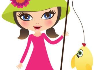 A Cartoon of a Girl Fishing